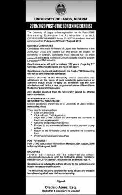 UNILAG Post-UTME 2019: Cut-off mark, Eligibility, Screening dates and Registration Details