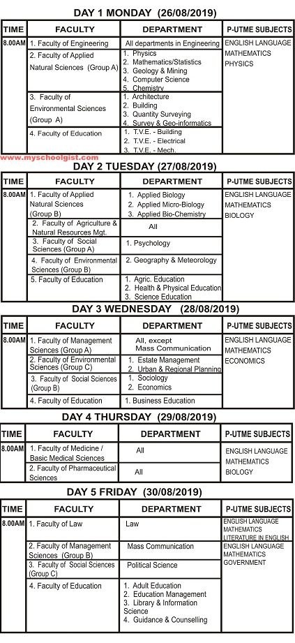 esut post utme screening timetable